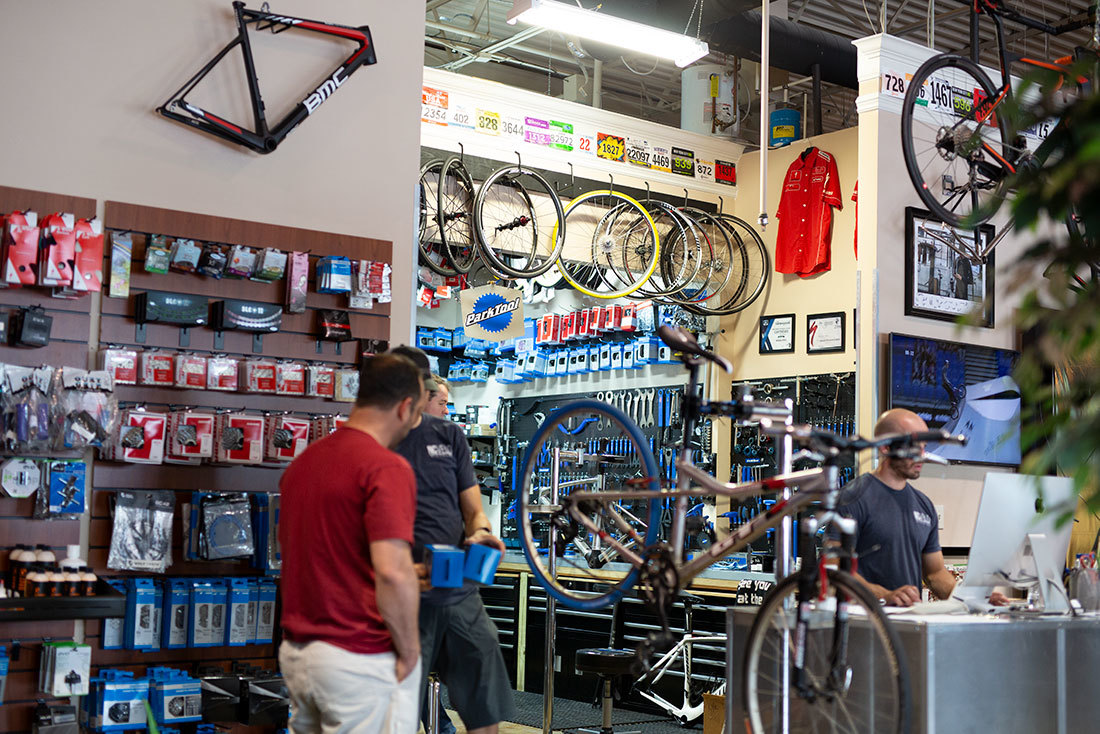 Bike shop with service center in the background