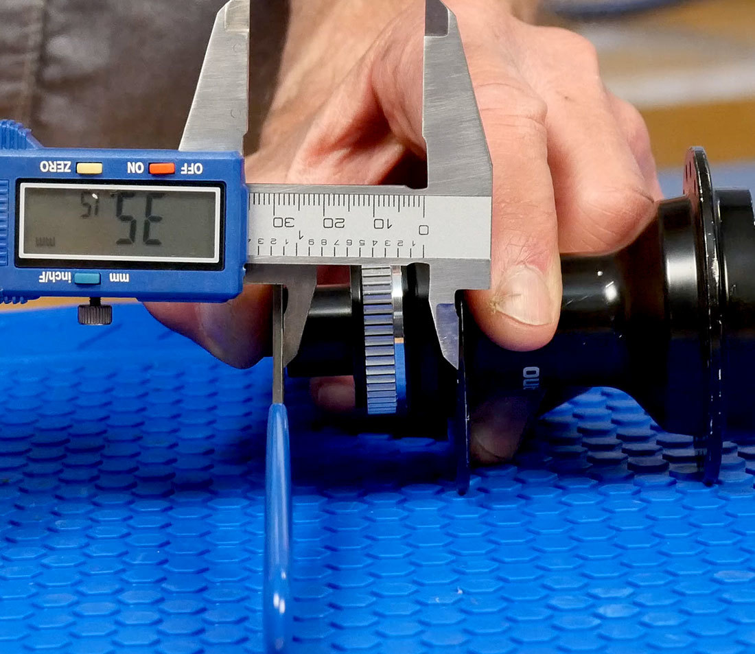 Measuring left flange with a digital calipers