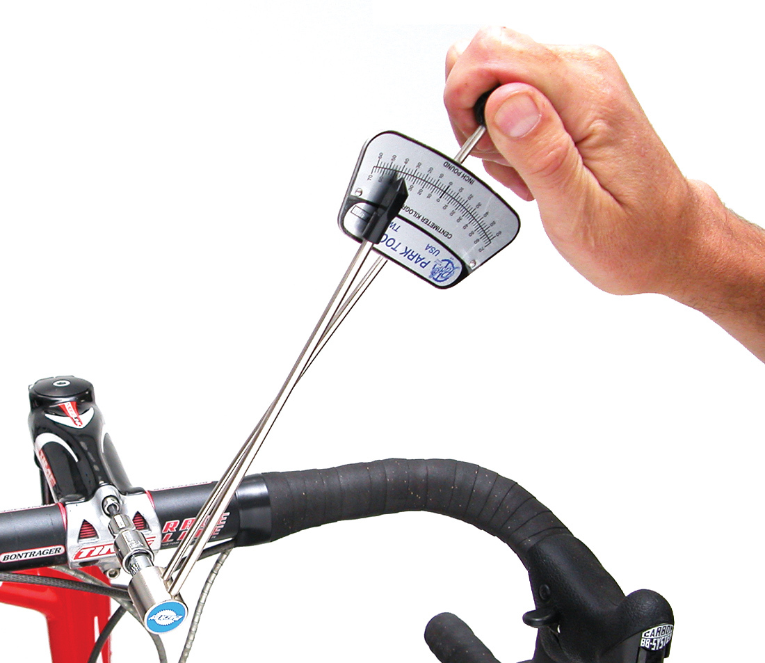 Park Tool TW-1 in use on bicycle stem faceplate bolt