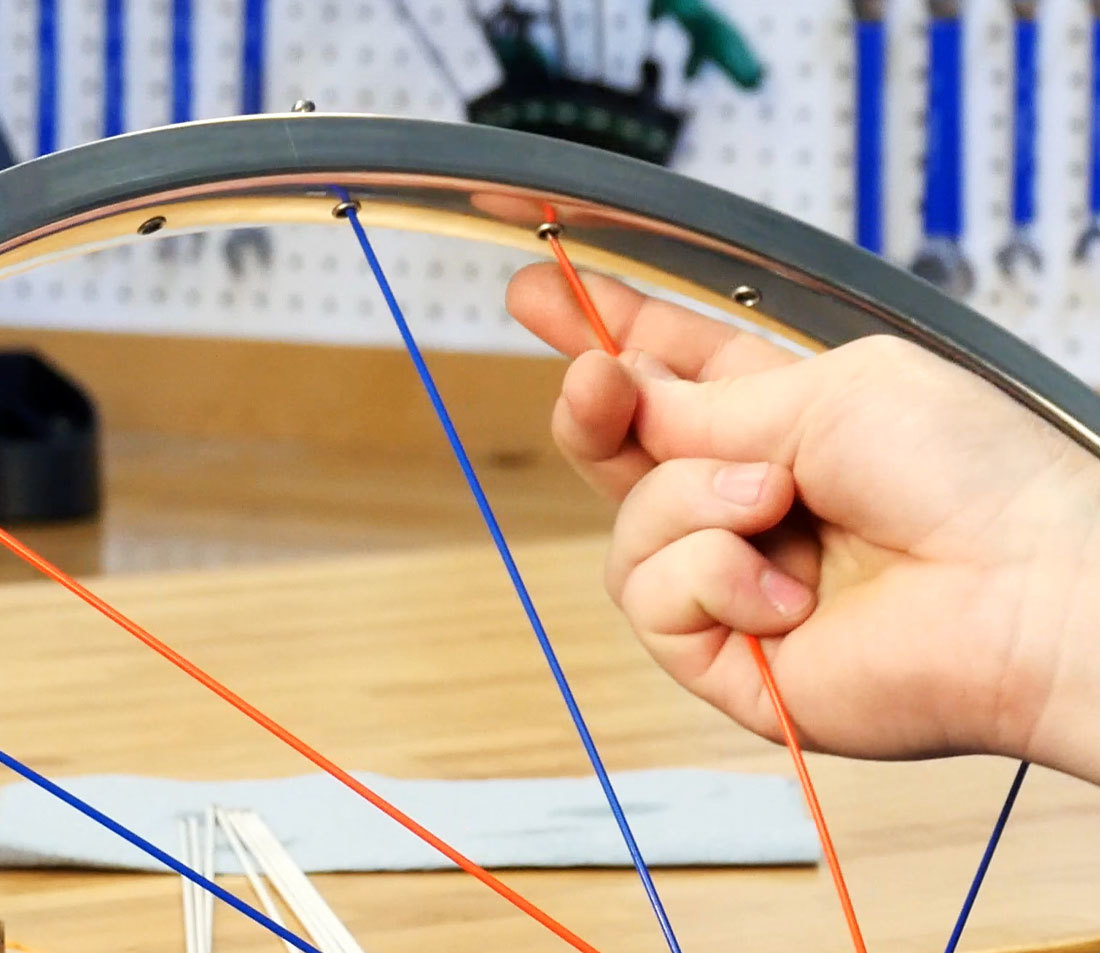 Installing second spoke set to right of first set on bicycle rim