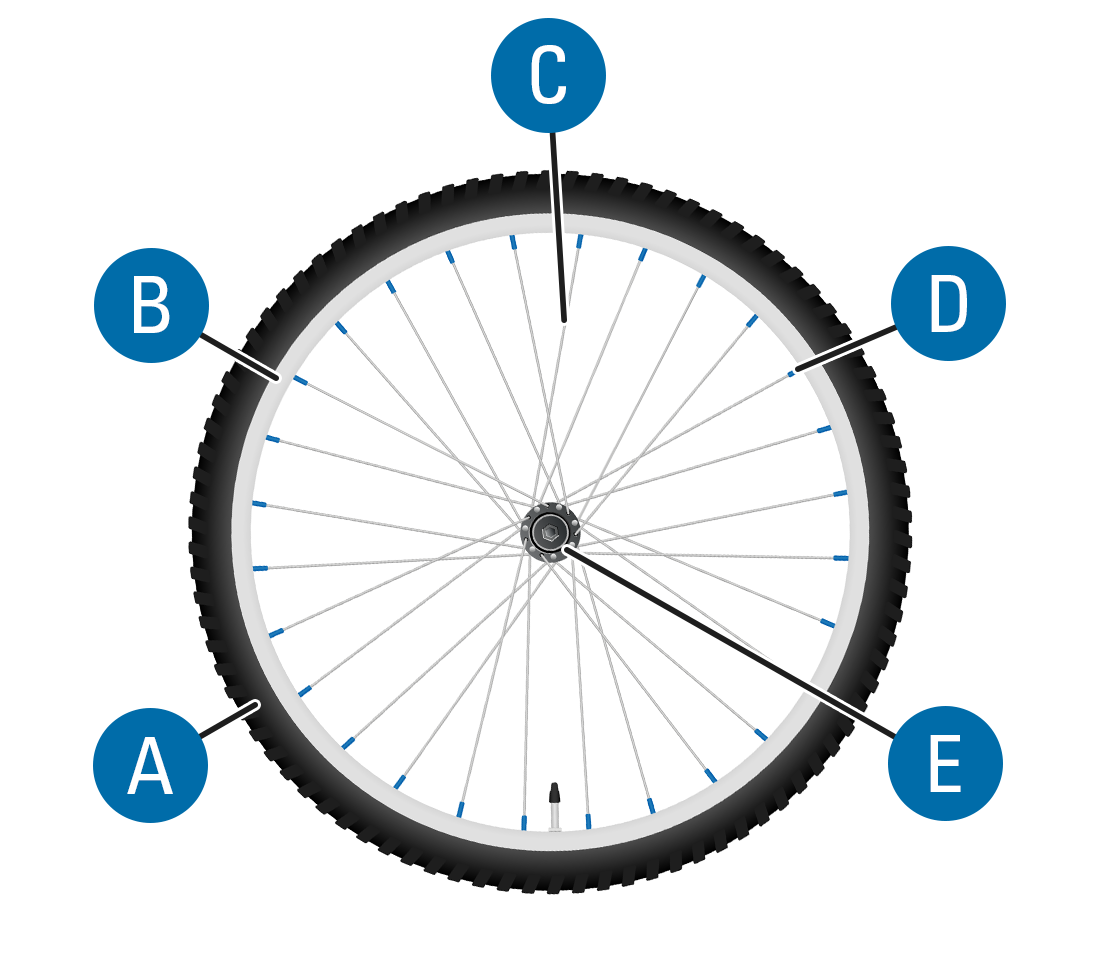 Components of a wheel: Tire (A), rim (B), spokes (C), spoke nipples (D), and hub (E)