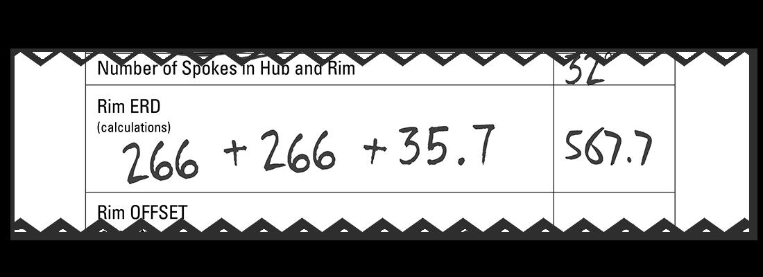 Filled in spoke length worksheet to calculate the rim ERD