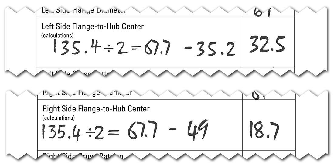 Completed spoke length worksheet with calculations to determine left and right side flange-to-hub center