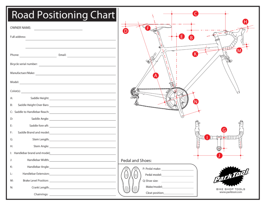 Bicycle Wheel Size Chart >> Road Positioning Chart | Park Tool