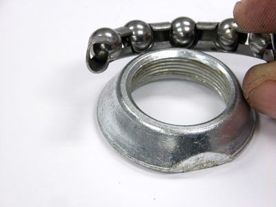 Cut away of ball cage retainer and bearing cone