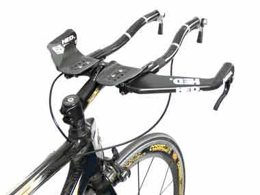 Figure 1. Bar end shifters on a time trial handlebar.