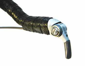 Figure 8. Bar end shifter housing under handlebar tape on a drop handlebar