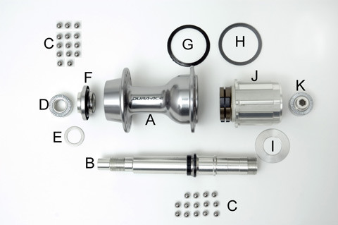 Figure 1. Internal parts of the 7800 rear hub