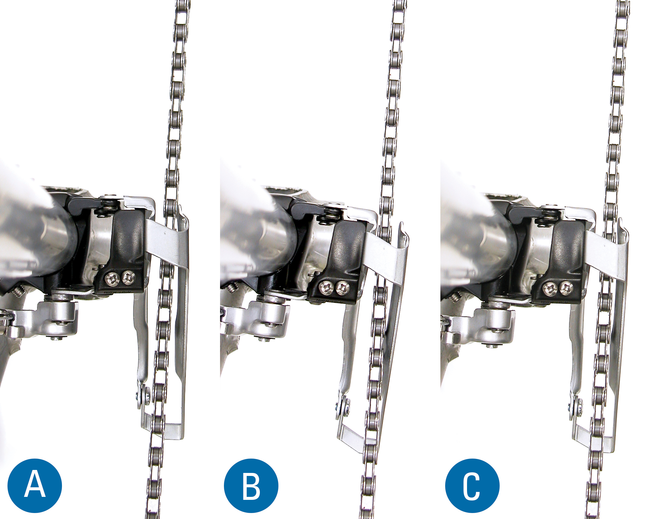 Derailleur A is rotated too far counter-clockwise. Derailleur B is rotated too far clockwise. Notice rear end of cage is inward, toward mid bike plane. Derailleur C is acceptably aligned.