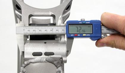 Bottom bracket width measured before facing