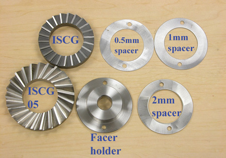 Figure 5. Truvativ tab cutters, facer holder, and spacers. This set fits the Park Tool cutting handles, but the cutter set is not available from Park Tool