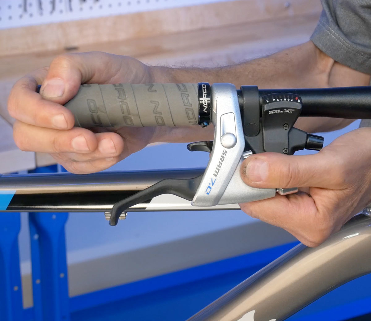Trigger shifters are installed before brake lever