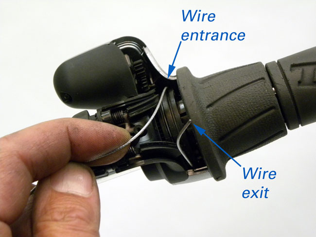 Figure 5. Guide wire through shifter and out opposite side