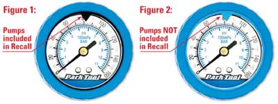 Example of what pumps are included in the recall with the color of arrow. Blue is not recalled... black is