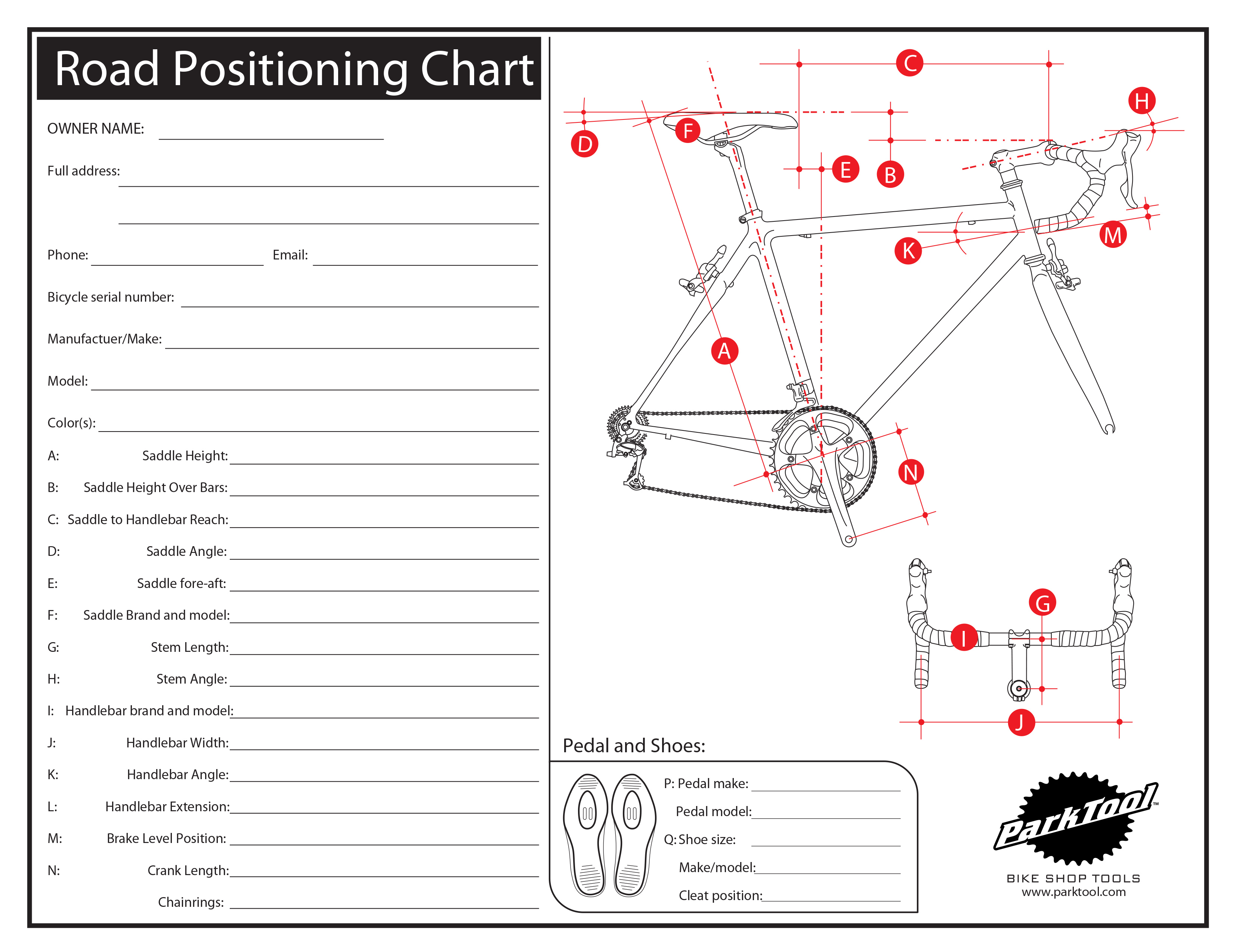 Road Positioning Chart | Park Tool