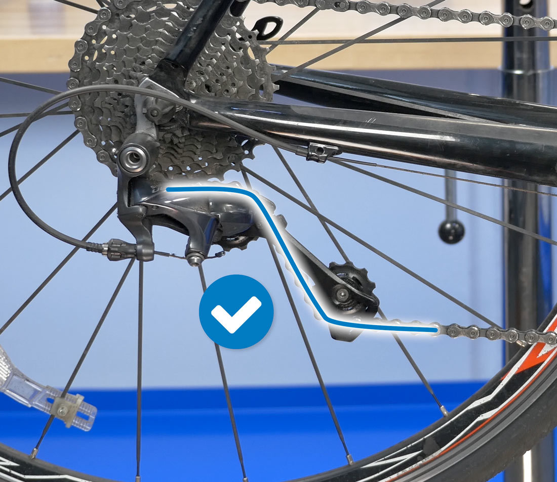 Slight bend at each derailleur pulley