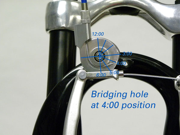 Cable bridging hole sitting at the 4:00 position
