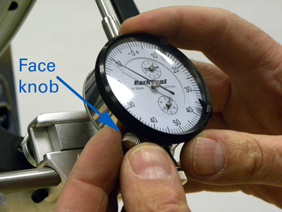 Figure 14. Loosen dial face knob and rotate dial face as needed