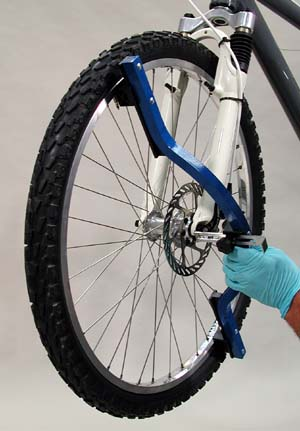 Figure 2. Checking dish without removing wheel from bike